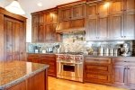 Luxury pine wood beautiful custom kitchen interior design with island and granite
