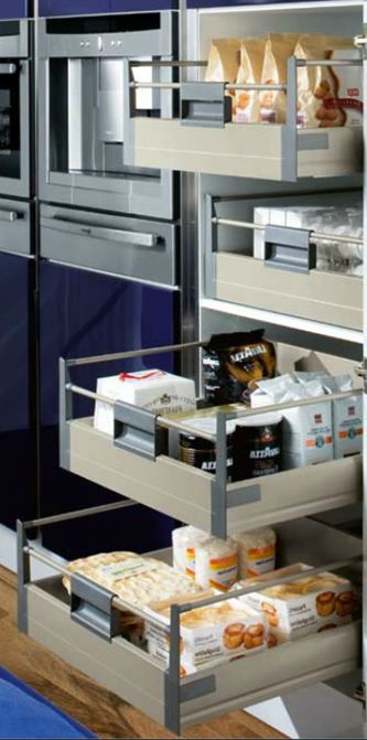 Tall larder units with interior drawers
