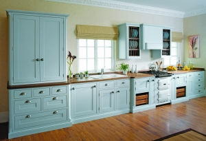 shaker kitchen handpainted blue with pantry unit
