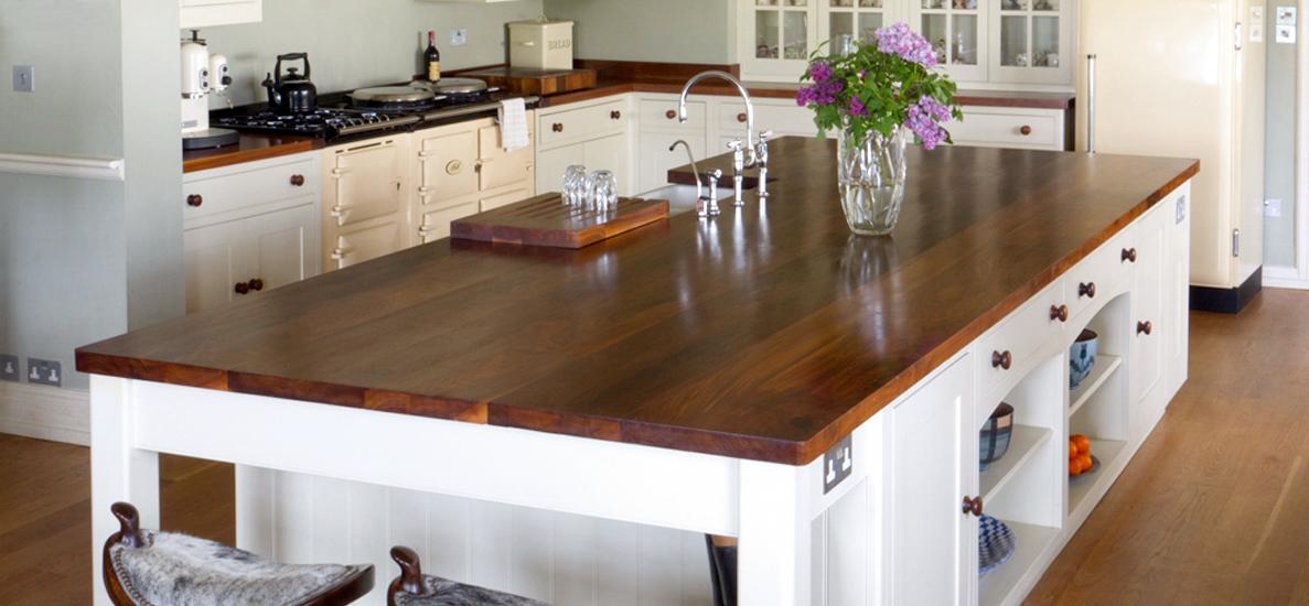 White Units Kitchen Wooden Worktop
