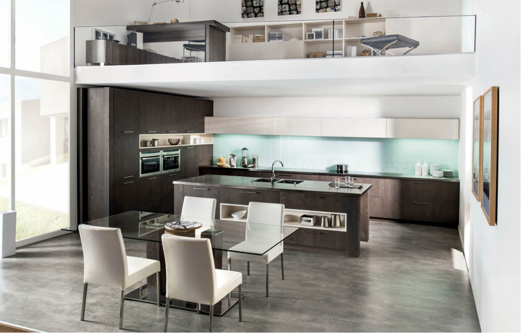 Modern Dark Brown Wood Kitchen With White High Gloss Wall Units And  Featured Island