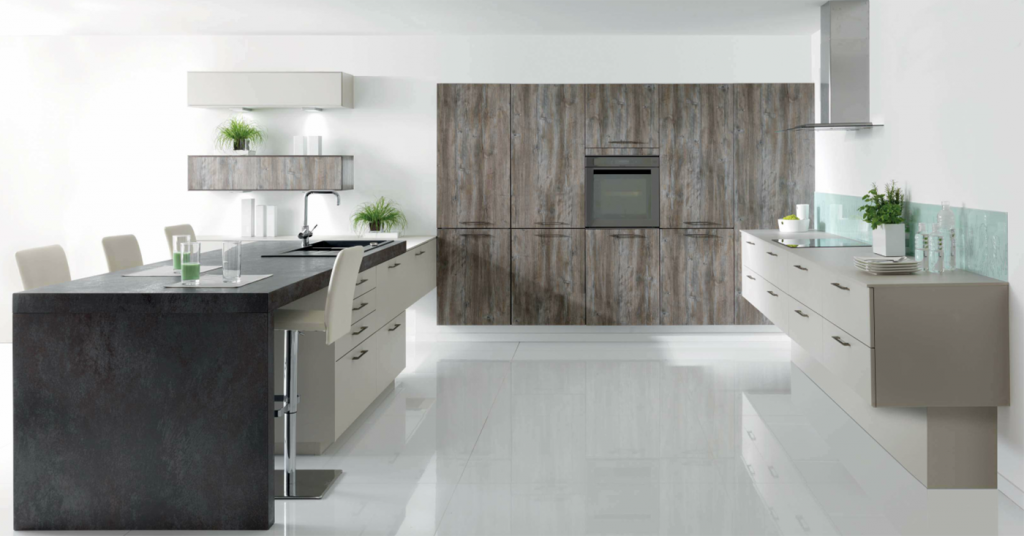 Modern Grey Planked Wood Schmidt Kitchen With Beige And Textured Customised  Dining Table