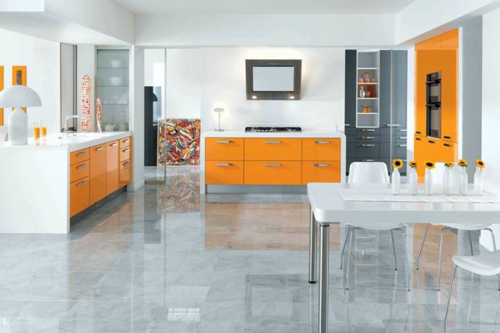 modern highgloss orange schmidt kitchen with white worktops