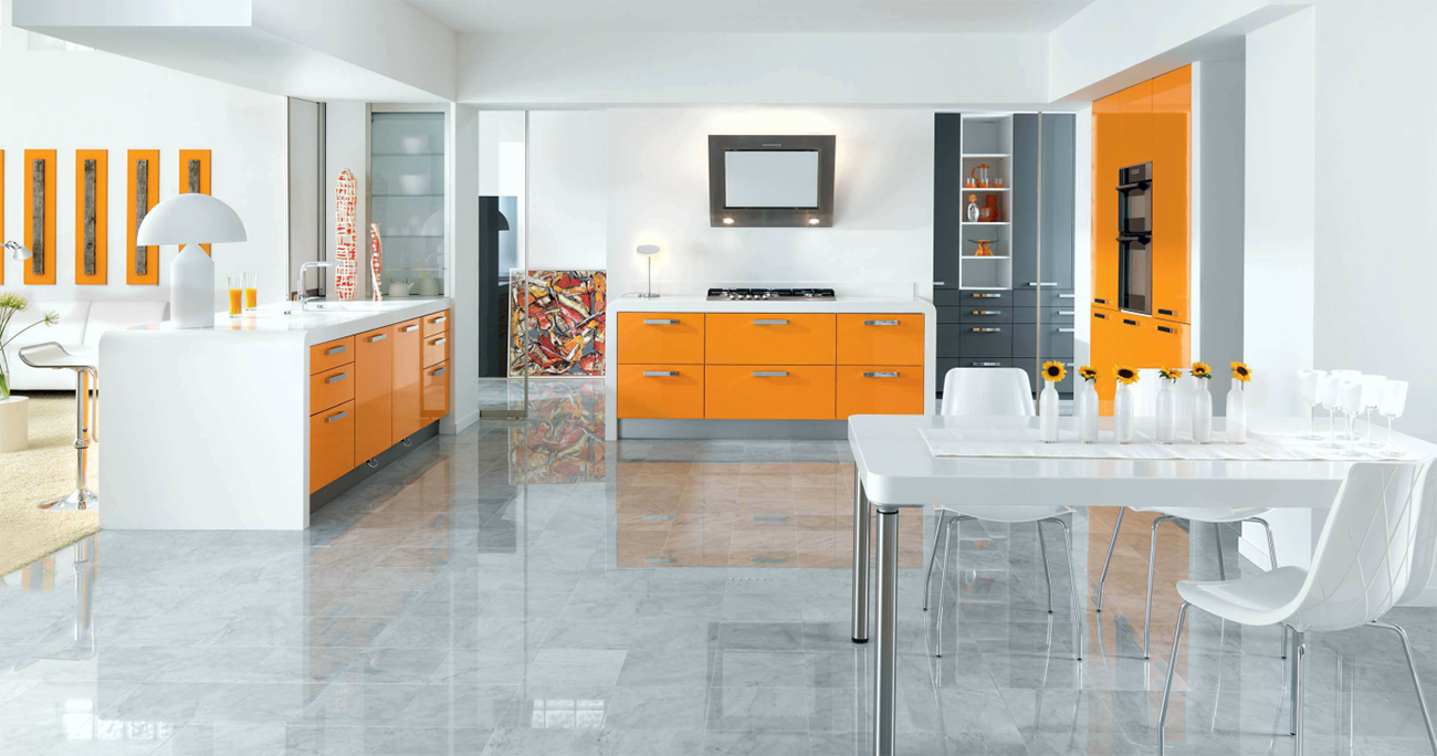 modern highgloss orange schmidt kitchen with white worktops