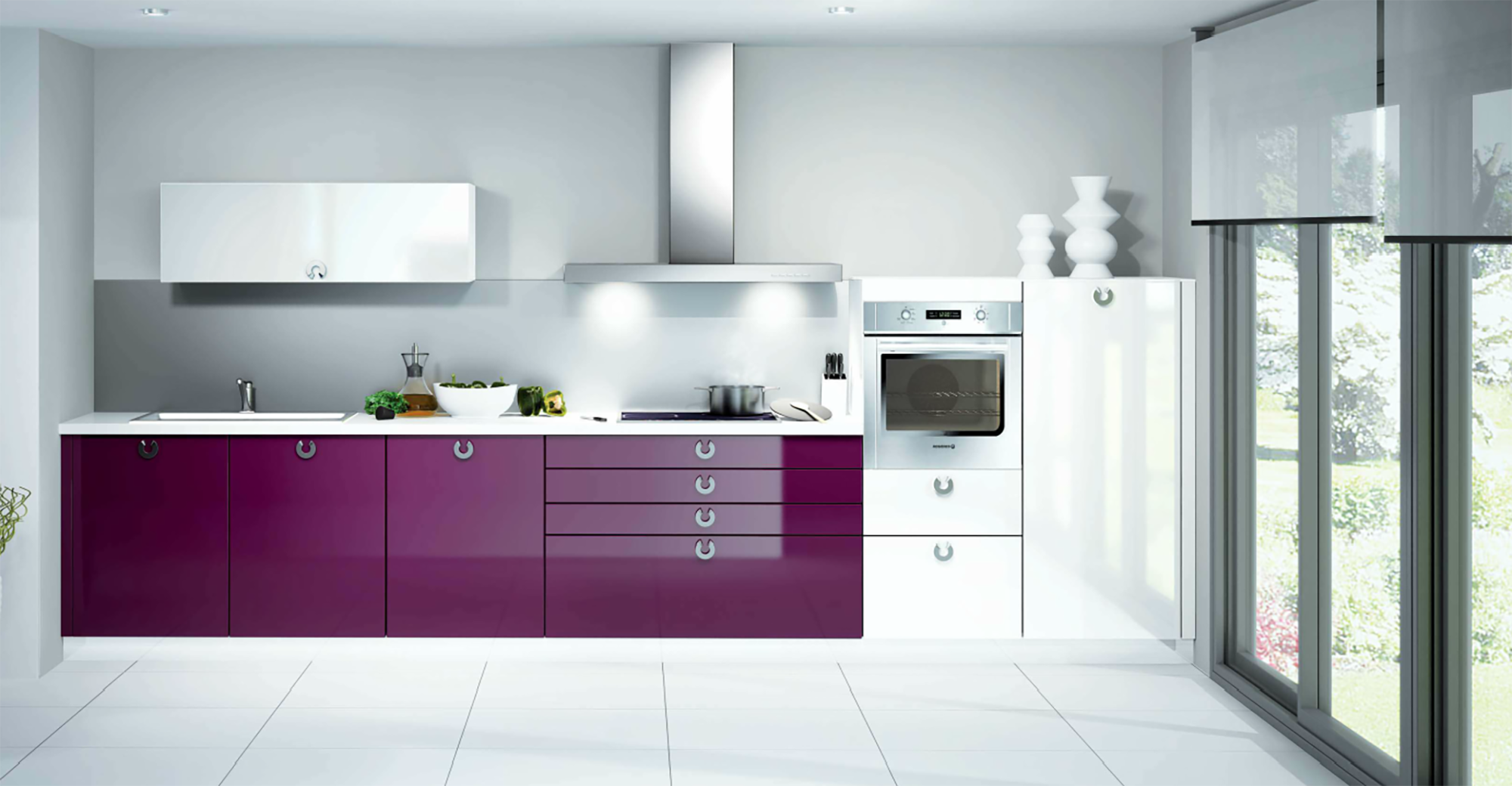 modern highgloss purple and white schmidt kitchen