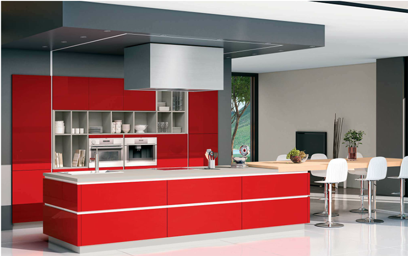 red modern highgloss kitchen with alcove wall storage and woodern dining table