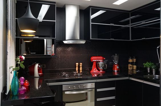 high gloss kitchen cabinet a pop of colour