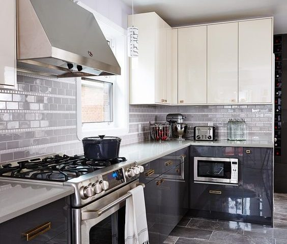 high gloss kitchen tile finish backsplash