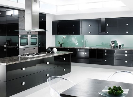 high gloss kitchens cabinet black modern