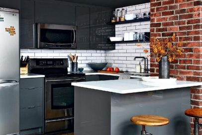 small high gloss kitchen space